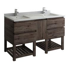 Formosa Floor Standing Open Bottom Double Sink Bathroom Cabinet With Top 60-inch