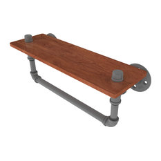 "Pipeline Collection 16"" Ironwood Shelf With Towel Bar"