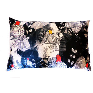 Rectangular Birds and Leaves Cushion, Blue and White