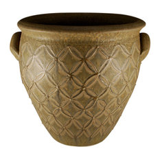 Traditional Hand Turned Planter With Raised Slip Decoration