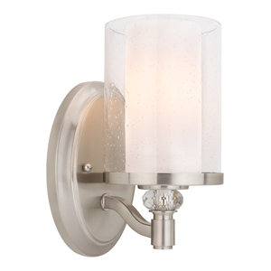 Kira Home Victoria Wall Light, Frosted Glass Inner + Seeded Glass Outer Shade, 1