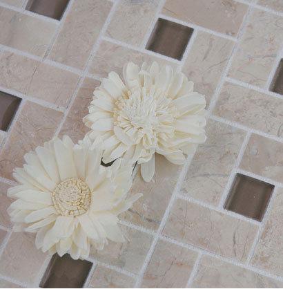 Target Style Glass & Stone Floor Mosaic - Mosaic Tile