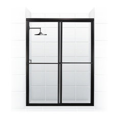 "Newport Framed Sliding Shower Door, Towel Bar, Clear, Black, 60""x70"""