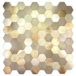 """Abolos - 12""""x12"""" Peel and Stick DIY Backsplash Brushed Gold Metal, Set of 5 - The Enchanted Metals Collection encapsulates the most contemporary design in aluminum mosaic tiles. Aluminum tiles are a favorite amongst designers and architects worldwide because of their durability, clean and unobtrusive look and smooth structure. These tiles are appropriate for a wide variety of applications including kitchen backsplashes, indoor wall adornment and bathroom tile."""