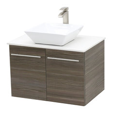 """24"""" Wall Mount Vanity, White Stone Countertop, Taupe Grey"""