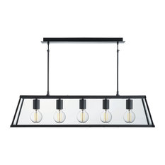 Voyager 5-Light Lantern Bar, Matte Black, Glass