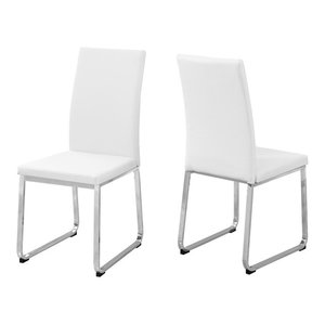 Leather-Look Dining Chairs, Set of 2, Seat: White, Base: Chrome