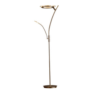 "Artiva LED Torchiere Floor Lamp Reading Light 30W 71"" Touch Dimmer, Satin Nickel"