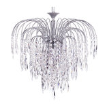 Visconte Bath 6 Light Ceiling Pendant with Crystal Droplets, Nickel