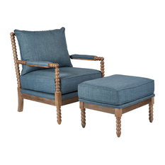 OSP Home Furnishings - Louis Spindel Chair and Ottman With Wire Brush Modern , Milford Indigo - Armchairs and Accent Chairs