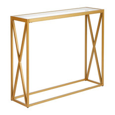 Hudson Canal Arlo Brass Console Table
