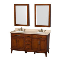 "Hatton 60"" Vanity Medicine Cabinet, Light Chestnut, Ivory Marble Top, Oval Sink"