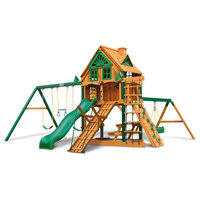Gorilla Playsets Frontier Treehouse Swing Set With Fort Add-On And Timber Shield