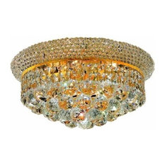Elegant Lighting 1800F14G Primo 6-Light 1 Tier Flush Mount Crystal Chandelier