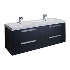 "Surf 57"" Black-Wood Bathroom Vanity Set With Integrated  Acrylic Double Sink"