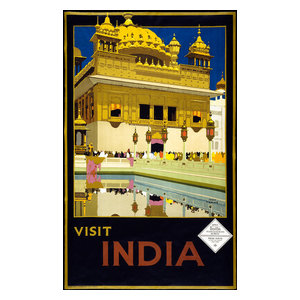 16x24 Visit India 1920s Vintage Style Moonlight Travel Poster