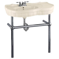 Bone Console Sink China Southern Belle with Black Nickel Bistro Legs