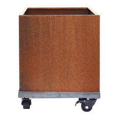 "Corten Square Planter on Casters, Corten, 20""x20"""