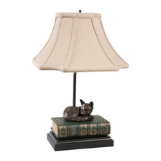 EQUESTRIAN Sculpture Table Lamp Traditional Antique Napping Fox Book