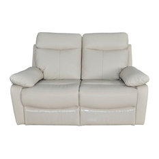 Contemporary Upholstered Leather Reclining Loveseat in Taupe