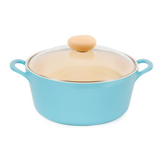 Neoflam Retro 5Qt Ceramic Nonstick Stockpot With Glass Lid, Mint