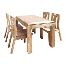 Oriental Light Wood Dining Table 4 Chairs Set Hcs1555
