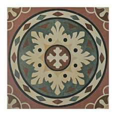 """9.75""""x9.75"""" Capitolio Porcelain Floor and Wall Tile, Rosso"""