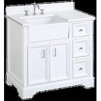 "Zelda 36"" Bathroom Vanity, Base: White, Top: Quartz"