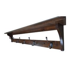 Shaker Coat Rack Shelf, Wall Mounted, Brown Maple Wood, Coffee Stain, 5 Hook