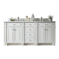 "Bristol 72"" Cottage White Double Vanity w/ 3cm Carrara White Marble Top"
