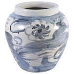 Legends of Asia - Blue and White Twisted Flower Wide Top Jar - Just image this lovely Twisted Flower wide open top jar atop your television hutch in your family room. It's handcrafted design features an asian inspired design, yet still modern.