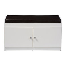 Baxton Studio - Margaret Wood 2-Door Shoe Cabinet With Faux Leather Seating Bench, White - Shoe Storage