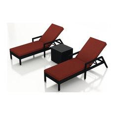 Urbana 3 Piece Wicker Chaise Lounge Set, Canvas Henna Cushions