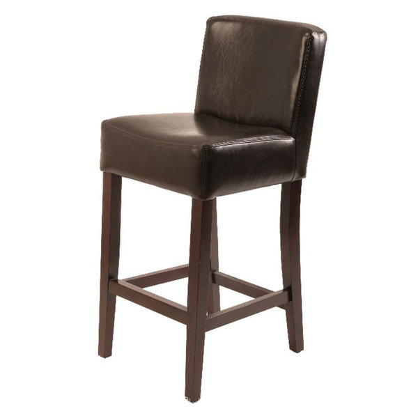 Leather Stool Brown Counter Seat Height 26