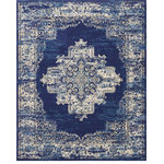 """Nourison - Nourison Grafix Area Rug, Navy Blue, 7'10""""x9'10"""" - In intriguingly distressed shades of blue and white, this Grafix area rug from Nourison will elevate the elegance quotient of any room. Each rug is brilliantly bordered in traditional Persian rug style, and masterfully powerloomed for a lavish feel, long wear, and low maintenance."""