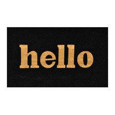 """Hello"" Block Doormat, Black and Natural, 17""x29"""