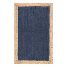 Solid Jute Simple Border Jute Area Rug, Blue, 9'x12'