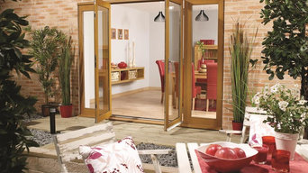 Warm oak bi-fold doors