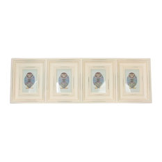 """33"""" Distressed Eggshell White Photo Picture Frame Collage Wall Decoration"""