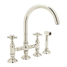 Rohl   Country Kitchen High Arc Bridge Faucet In Polished Nickel   Kitchen  Faucets