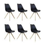 Scandi Style Dining Side Chair, Pyramid Beech Wood Legs, Black, Set of 6