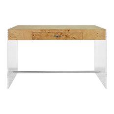 Worlds Away - Worlds Away, Acrylic Side Panel Desk, Lennon, Burlwood - Desks and Hutches