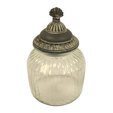 Pier Surplus Glass Cotton Ball Holder With Metal Lid Bathroom Canisters