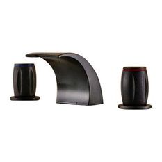 Round Dual Handle Deck Mounted Waterfall Oil Rubbed Bronze Basin Sink Faucet
