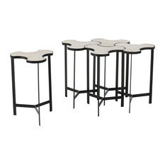 Link Natural Iron With Travertine Top Bunching Table