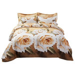 Dolce Mela - Duvet Cover Set, 6-Piece Fitted Sheet Bedding Set in Gift Pack, Queen - An artistic floral medley is painted to create a uniquely modern and refreshing effect for your bedroom.