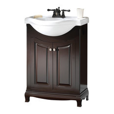 "Palermo 26"" Espresso Euro Bathroom Vanity With Vitreous China Top"