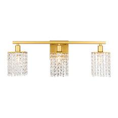 "Elegant Lighting LD7010 Phineas 3 Light 24""W Bathroom Vanity - Brass"