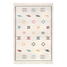 Southwestern Flatwoven Ancestral Area Rug, Ivory, 5'x8'