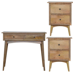 Console Table and 2 Nordic Style Bedside Tables, 3-Piece Set
